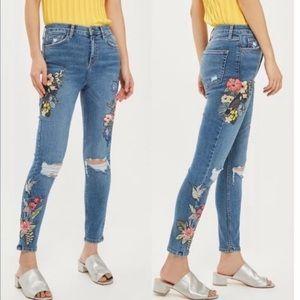 Topshop skinny jeans embroidered Moto Jamie
